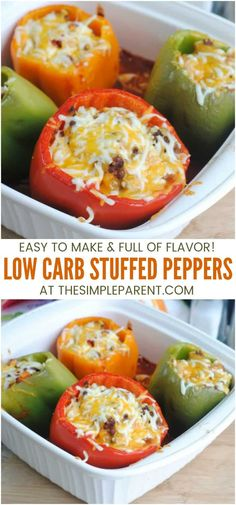 Low Carb Stuffed Peppers Recipe - Make these keto stuffed peppers with ground beef, chicken or turkey for an easy and healthy dinner that is family friendly! Theyre oven baked with melted cheese for tons of flavor! easy dinner recipes for family Low Carb Stuffed Peppers, Ground Turkey Stuffed Peppers, Stuffed Bell Peppers Chicken, Stuffed Peppers With Cheese, Recipe For Stuffed Peppers, Ground Turkey And Peppers Recipe, Stuffed Pepper Recipes, Healthy Recipes, Cauliflowers