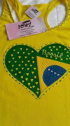 Camiseta nadador com Coração brasil - COPA 2018