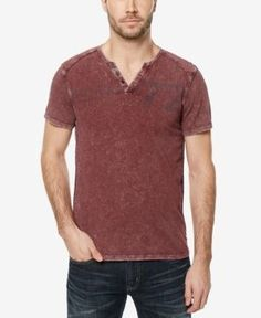 Buffalo David Bitton Men's Narwayne Henley T-Shirt - Purple XXL