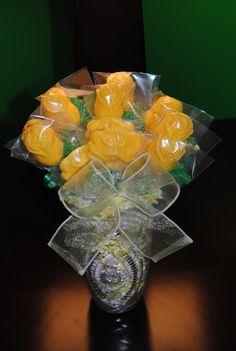 A Dozen Yellow Chocolate Rose Lollipop Bouquet