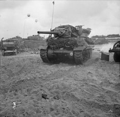 An M10 Wolverine 3-inch self-propelled gun of 20th Anti-Tank Regiment on Queen Red beach, Sword area, 6 June 1944.
