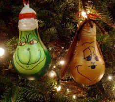 Christmas Ornaments (24 Pics) Lightbulb grinch