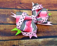 Pink Stripe and polka dot bow
