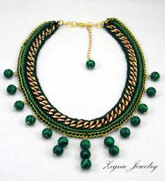 SALE Malachite Beads Gold Chain Necklace. Crochet. by ZegnaJewelry, $80.00