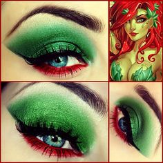 Stunning Poison Ivy eye in vivid green and red eyeshadow created by KIϟKI MAKEUP