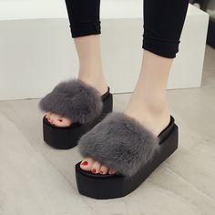 54d3c3f175beb Flip Flops 2016 Autumn Women s Slippers Shoes Fashion Winter Soft Fur  Slippers Thick Bottom Flat Platform
