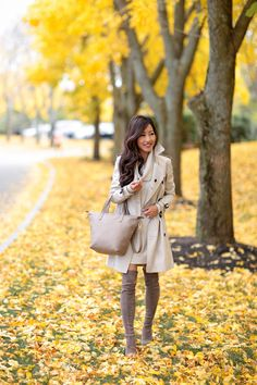 Fall foliage in Boston // Classic outfit idea: trench coat + suede OTK boots + sweater dress from extra petite blog