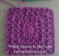 Free crochet pattern: Wobbly Squares in one color with photo tutorial by Tw-In S. - Crochet Patterns - Free crochet pattern: Wobbly Squares in one color with photo tutorial by Tw-In Stitches - Crochet Blocks, Granny Square Crochet Pattern, Crochet Squares, Crochet Granny, Crochet Motif, Crochet Yarn, Crochet Stitches, Free Crochet, Crochet Patterns