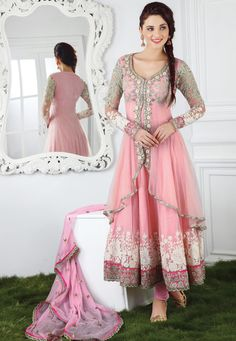 Pink net resham, lace and patch bordered anarkali kameez with baby pink santoon churidar and baby pink faux chiffon dupatta comes along with this.