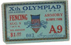 1932 Los Angeles Olympic Fencing Ticket, Used, August 9 Men's Epee Final