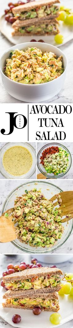 This Avocado Tuna Salad is so delicious and loaded with good stuff such as chunks of tuna, avocados, cucumbers and my secret ingredient, sun-dried tomatoes! This avocado tuna salad is creamy, full of nutrients and perfect for lunch. #tunasalad #avocadotunasalad via @jocooks
