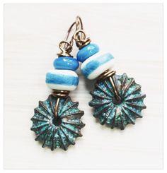 Urchin wheel earrings  sky blue ceramic bead by UtterlyLovelyStuff