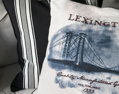 Bridge Sham. Our inspirational cotton sham with a slight vintage touch is designed with printed Lexington graphics and embroidery on the front and is carefully detailed with contrast piping and a convenient zip closure at the bottom.