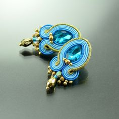 Gold Soutache Earrings, Small Blue Post Soutache Earrings, Blue Soutache Earrings, Soutache Jewelry, Gold Blue Orecchni Soutache, Bohemian by OzdobyZiemi on Etsy