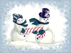 Winter Snowpeople   Detail from a vintage Christmas card--th…   Flickr