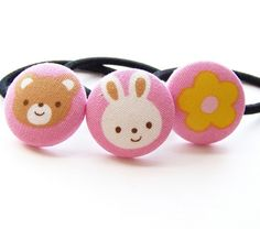 Beary Bunny Friends Fabric Covered button by ButtonBoutique (Accessories, Hair, Ponytail, scrunchi, bunny, bear, flower, teddy, pink, yellow, white, elastic, easter basket, gift)