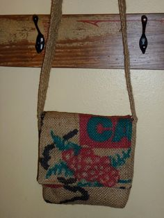 Awesome messenger bag made from burlap coffee bag!