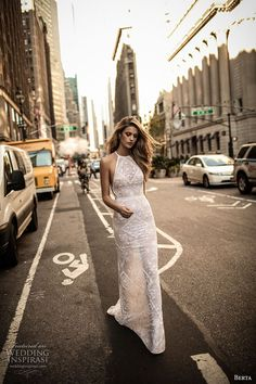 berta fall 2017 bridal sleeveless halter neck full embellishment elegant lace sheath wedding dress low back chapel train (008) mv