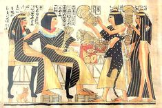 Egyptian art Egyptian women wearing their full tunics, while you find a possible priest wearing an animal pelts because animal signified power and strength