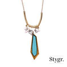 Fierce Statement Blue Necklace - Gold. Stygr. - Handmade Designs.   www.stygr.com