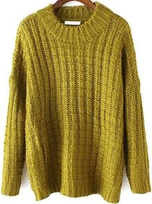 A great colour for fall – Long Sleeve Chunky Knit Green Sweater