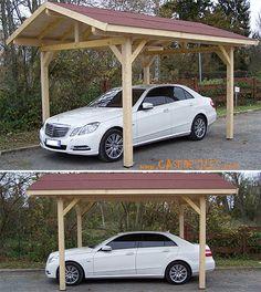 Carport bois à Pas Cher : Carport bois avec toiture 2 pans 10.86mc KA3550BM