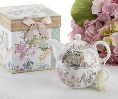 Amazon.com | Delton Products Porcelain Tea for One with Decorative Gift Box, Owls: Tea-For-One Sets