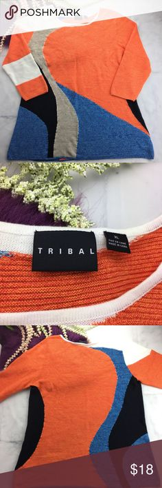 """NWOT Tribal light sweater tunic stretch Tribal sweater tunic with stretch. This tunic has beautiful colors and a soft, cozy stretch. This will be your new favorite sweater for a cozy, Winter day. Please check measurements for best results!   21.5"""" from pit to pit  30"""" long Tribal Tops Tunics"""