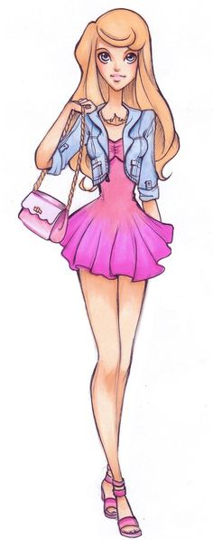High School Aurora - disney-princess Fan Art