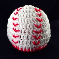 Baby Baseball Hat: Newborn, Baby, and Toddler Sizes - Crochet Baby Boy or Girl Beanie White & Red Photography Prop. $14.00, via Etsy.