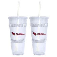 Officially Licensed NFL 22 oz. Bling Tumbler 2-pack with Straw - Cardinals