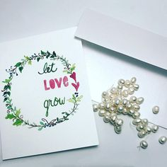 Let Love Grow Card  / watercolor / single folded card / blank inside / Kraft envelope