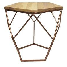 Designový odkládací stolek Culty s dubovou deskou.