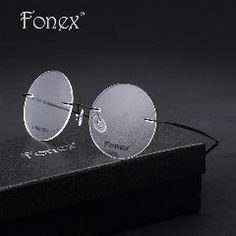 5546891a1e Men male Round Rimless Glasses Vintage Memory Titanium Eyeglasses Retro  Ultra-Light Myopia Optical Frame Black gold silver