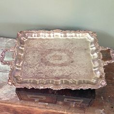 Southern Vintage rentals- Large footed vintage silver tray - perfect for an elegant wedding