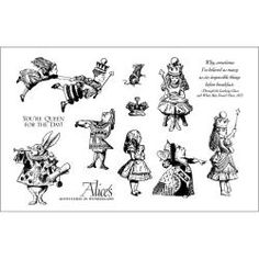 Alice in Wonderland -Rubber stamp set.  So I can copycat the party favor bags I just pinned :))