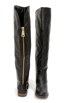 Bamboo Montage 80X Black Over the Knee Flat Boots at LuLus.com! $52