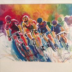 Bicycle race watercolor by Marilynne Bradley
