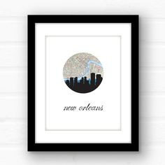 New Orleans art  New Orleans print  New by PaperFinchDesign