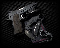 https://flic.kr/p/Mhevbj | Concealed Carry | Nighthawk Custom Firearms GRP II Recon .45 ACP 1911 Handgun | Surefire X200 Weapon Light | Brous Blades Enforcer Karambit | Kraktiller | Swiss Army Knife Alox Pioneer | Black | Gun Knife Knuck EDC Every Day Carry | Self Defense | FoxHanx Handkerchief