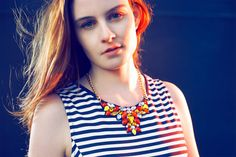 Orange red yellow bib statement necklace colorful stones by empico