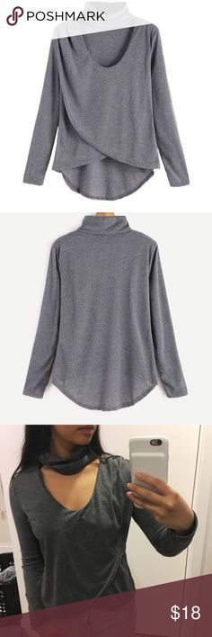 """Long Sleeved Choker Top - Gray Long Sleeved Choker Top - Gray  •Content + Details• *Linen material *Size medium, but fits like a small *Full sleeve length  •Fitting Measurements• Medium: Bust: 86cm (34"""") Shoulder: 35cm (14"""") Full Length: 43/59cm   ▪️Shipping 📦: I typically ship 1-2 days (excluding Sunday) after a purchase has been made Tops"""