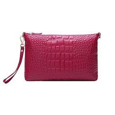 Missmay Women's Wristlet Clutch Purse Soft Genuine Leather Organizer Wallet Coin Bag Crossbody Shoulder Crocodile