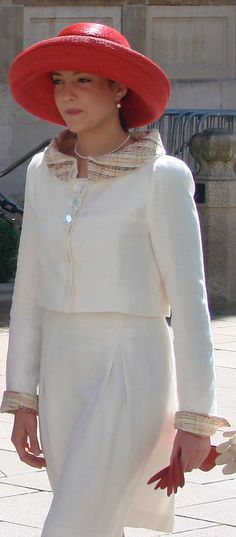HRH Princess Alexandra of Luxembourg #millinery #strawhat #judithm I love the deep crown. Works nicely with the raised collar on the jacket.