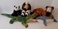 Lot of 6 Wild Republic Stuffed Animal Plush Toys Shark Bald Eagle T- Rex Panda