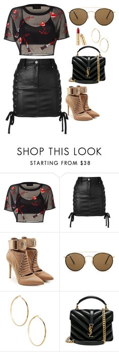 """Untitled #261"" by pehpalad ❤ liked on Polyvore featuring Versus, Puma, Ray-Ban, GUESS by Marciano and Yves Saint Laurent"