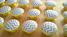 Chevron grey white on yellow knobs cabinet drawer knobs pulls, set of 18 via Etsy