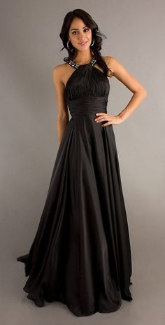Classic High Neck Halter Prom Dress Black Long Silky Satin
