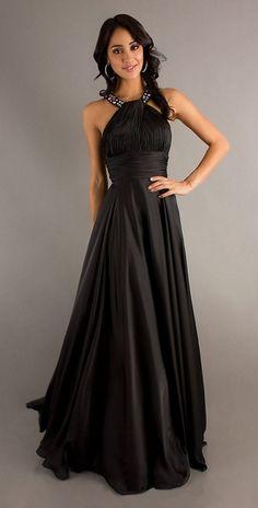 Classic High Neck Halter Prom Dress Black Long Silky Satin