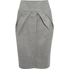 Giambattista Valli Pleated wool-blend pencil skirt ($925) ❤ liked on Polyvore